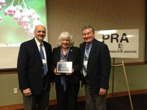 Lori Bruch, Ed.D., Rehabilitation Counseling Program director at the University of Scranton and Past President of PRA, receives the Pennsylvania Rehabilitation Association's (PRA) 2013 Ralph N. Pacinelli Leadership Award. From left: Dr. Pacinelli, Dr. Bruch and longtime mentor Dr. Stanley Irzinski.